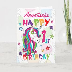 Personalized Unicorn 1st Birthday Card