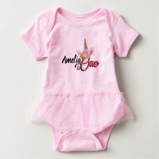 Personalized Unicorn 1st Birthday Tutu Baby Bodysuit