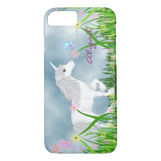 Personalized Unicorn and Flowers iPhone 7 Case