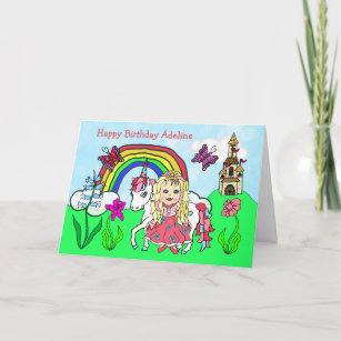 Personalized Unicorn and Princess Birthday Card