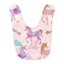Personalized Unicorn baby bib gift
