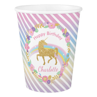 Personalized Unicorn Birthday Paper Cups