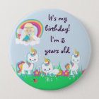 Personalized Unicorn Birthday Party Pinback Button