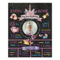 Personalized Unicorn First Birthday Poster