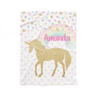 Personalized Unicorn Fleece Blanket