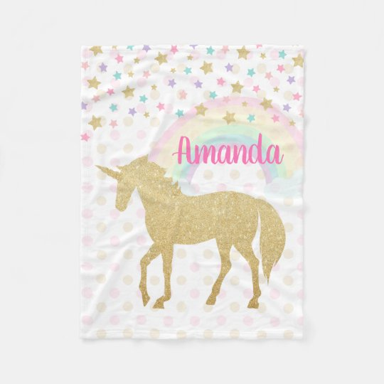 cd55e14d2f Personalized Unicorn Fleece Blanket