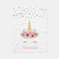 Personalized Unicorn Fleece Blanket