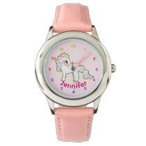 Personalized UNICORN Girls watch pink - add name
