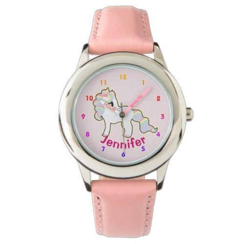 Personalized UNICORN Girls watch pink – add name
