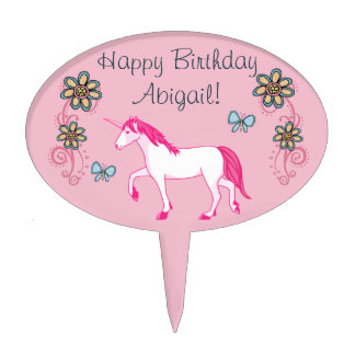 Personalized Unicorn Happy Birthday Cake Topper