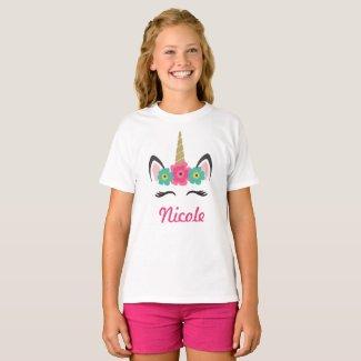 Personalized Unicorn Head T-Shirt