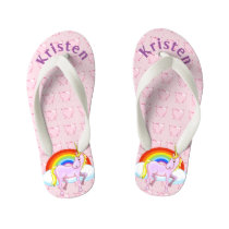 Personalized Unicorn & Hearts Flip Flops