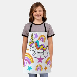 Personalized Unicorn Hearts Stars Rainbows Apron