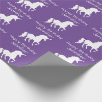 Personalized Unicorn Pattern Girls Birthday Purple Wrapping Paper