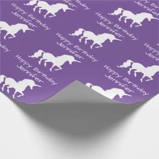 Personalized Unicorn Pattern Girls Birthday Purple Wrapping Paper