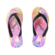 Personalized Unicorn Rainbow Colorful Kid's Flip Flops