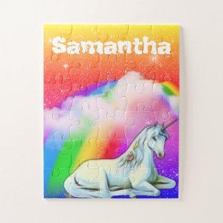 Personalized Unicorn Rainbow Kids gift Jigsaw Puzzle