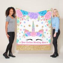 Personalized Unicorn Watercolor Fleece Blanket