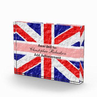 Personalized Union Jack Flag Design Acrylic Award