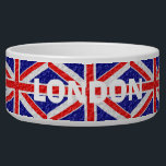 """Personalized Union Jack Flag Design Bowl<br><div class=""""desc"""">Flag of Great Britain design pet bowl. This flag design is created for a ceramic pet bowl and you can customize this pet bowl with any text of your choice. There are 2 sizes available just select the size you want from the images on the right hand side of this...</div>"""