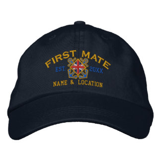 Personalized Union Jack Flag First Mate Nautical Embroidered Hat