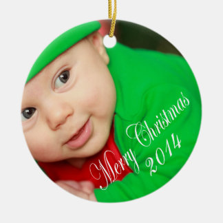 Personalized Upload Your Photo Merry Christmas Ceramic Ornament