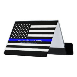 Personalized US Thin Blue Line 2 Lines of Text Desk Business Card Holder