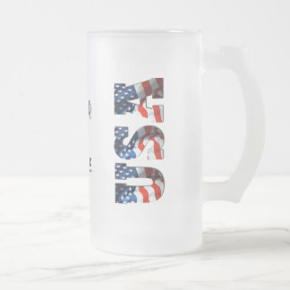 PERSONALIZED USA 3D Patriotic Frosted Beer Mug