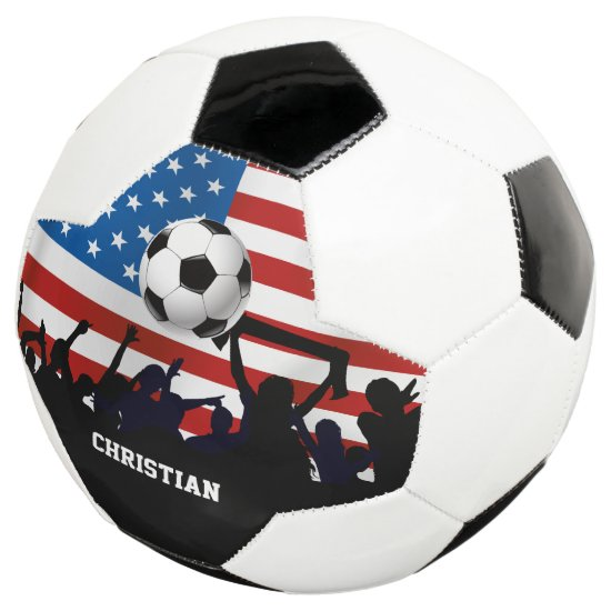 Personalized USA Flag Football and Soccer Fans Soccer Ball