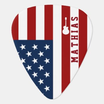 Personalized Usa Flag Guitar Music Guitar Pick by mixedworld at Zazzle
