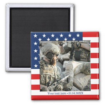 Personalized USA Flag Patriot Photo Magnet