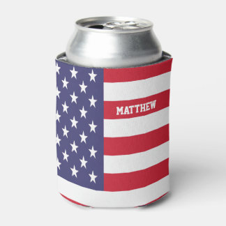 Personalized USA United States Flag Patriotic Can Cooler