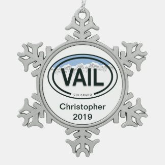 Personalized Vail Colorado Rocky Mountain Tag Snowflake Pewter Christmas Ornament