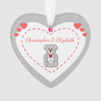 Personalized Valentine Teddy Bear Love Heart Ornament