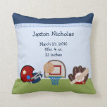 "Personalized Varsity Sports Baby Keepsake Pillow<br><div class=""desc"">Personalized Varsity Sports Baby Pillow Keepsake you can personalize with your child&#39;s information or any text you want. See matching items in my Zazzle store.</div>"