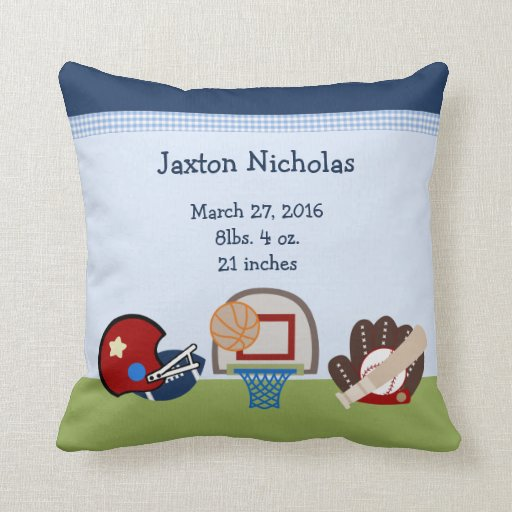Personalized Varsity Sports Baby Keepsake Pillow