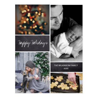 Personalized, Vertical, Christmas Photo Collage Postcard