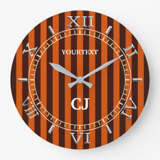 Personalized Vertical Orange Stripes Dial on a Large Clock