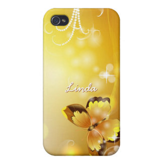 Personalized Very Yellow, Butterfly and Bubbles iPhone 4 Cover