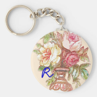 Personalized Victorian Flowers Key Ring Keychain