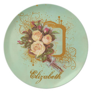 Personalized Victorian Rose Bouquet Plate