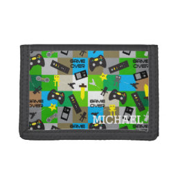 Personalized Video Game Gamer Geek for Boy Tween Tri-fold Wallets