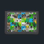 """Personalized Video Game Gamer Geek for Boy Tween Trifold Wallet<br><div class=""""desc"""">Video game pattern with controllers,  robots,  swords and stars. Personalize with a name. This makes a great gift for a boy,  tween,  teen or geeky gamer.</div>"""