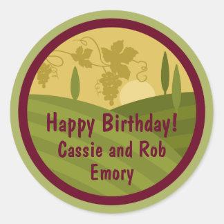Personalized Vineyard Birthday Wine Label Classic Round Sticker