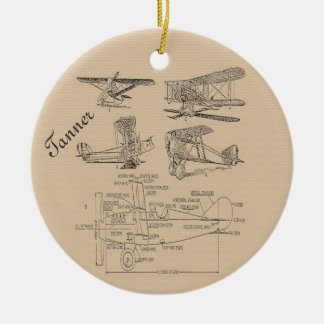 Personalized Vintage Airplane Sketches Double-Sided Ceramic Round Christmas Ornament