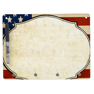 Personalized Vintage American Flag dry-erase board