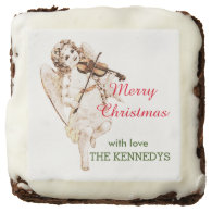 Personalized  Vintage Angel Christmas Square Brownie