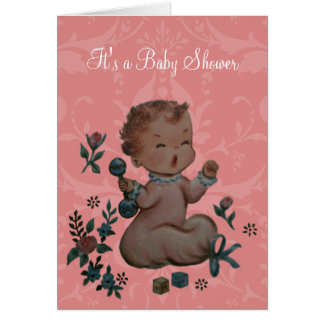 Personalized Vintage Antique Look Cry Baby Shower Card