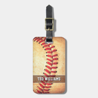 Personalized vintage baseball ball luggage tag