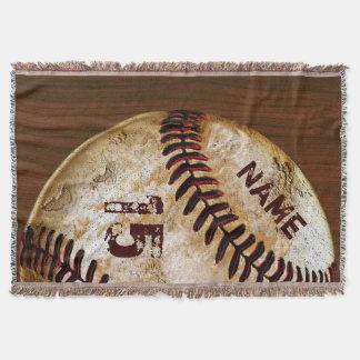 Personalized Vintage Baseball Blankets Name Number